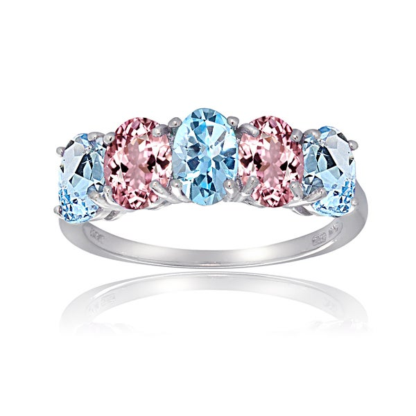 Glitzy Rocks Sterling Silver Blue Topaz Pink Tourmaline 5-stone Ring