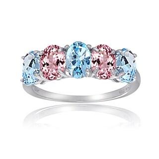 Glitzy Rocks Sterling Silver Blue Topaz Pink Tourmaline 5-stone Ring