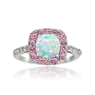 Glitzy Rocks Sterling Silver White Topaz Pink Tourmaline and Created Opal Ring