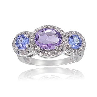 Glitzy Rocks Sterling Silver White Topaz Amethyst and Tanzanite Ring