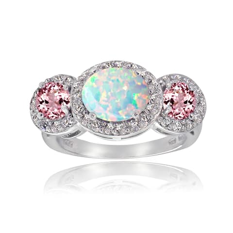 Glitzy Rocks Sterling Silver White Topaz Pink Tourmaline Created Opal Ring