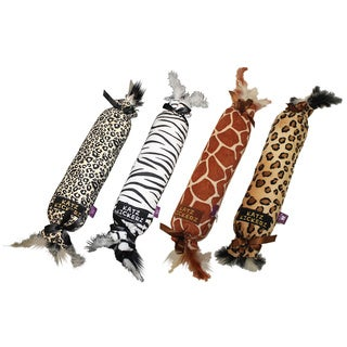 Multipet Animal Print Katz Kickers Plush Dog Toy