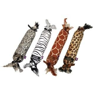 Multipet Animal Print Katz Kickers Plush Dog Toy
