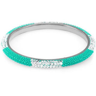 Sterling Silver Plated Seagreen Beads Clear Crystals Bangle
