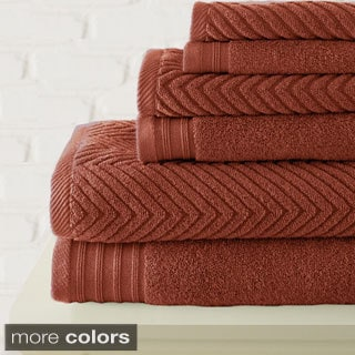 Amraupur Overseas 6-piece Zero Twist Herringbone Towel Set