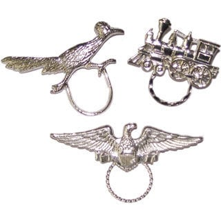 Detti Originals Spec Eagle/ Roadrunner and Train Silvertone 3-piece Spectacle Brooch Set