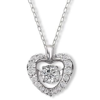 Avanti 14k White Gold 1 3ct TDW Diamond Fluttering Heart Pendant