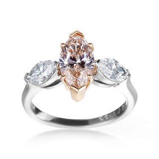 SummerRose Platinum, 18k Rose Gold 2 3/5ct GIA Certified Yellow-Brown and White Diamond 3-stone Engagement Ring (G-H, SI1-SI2)