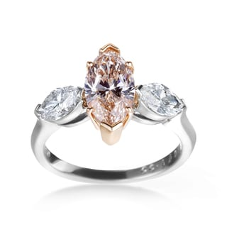 SummerRose Platinum 2 3/5ct Certified Yellowish Brown and White Diamond 3-stone Ring (G-H, SI1-SI2)