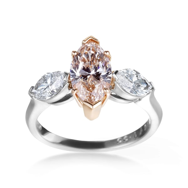 Two-Tone Platinum and Rose Gold 2 3/5ct Champagne Marquise 3-Stone Diamond Engagement Ring