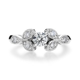 SummerRose 14k White Gold 4/5ct Round-cut Diamond Vintage-inspired Engagement Ring