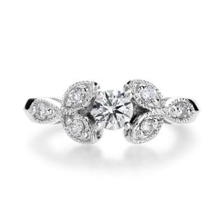 SummerRose 14k White Gold 4/5ct Round-cut Diamond Vintage-inspired Engagement Ring (H-I, I1-I2)
