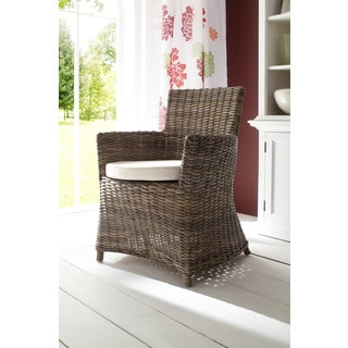 NovaSolo Kubu Rattan Bishop Dining Chair with Cushion (Set of 2)