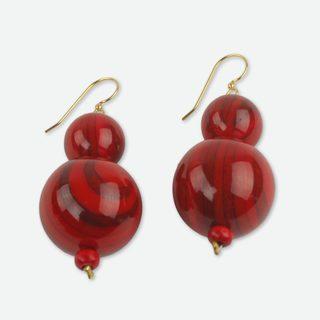 Handcrafted Recycled Plastic 'Dzidzo in Red' Beaded Earrings (Ghana)