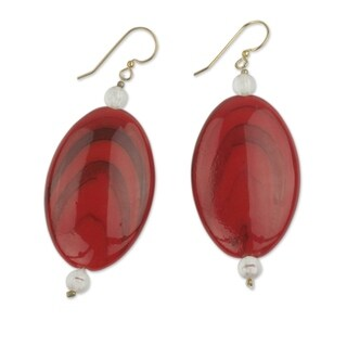 Handcrafted Recycled Plastic 'Odopa in Red' Beaded Earrings (Ghana)