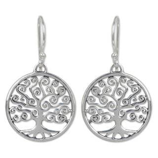 Handmade Sterling Silver 'Spiral Tree' Earrings (Thailand)