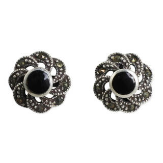 Handmade Sterling Silver 'Midnight Blooms' Onyx Marcasite Earrings (Thailand)
