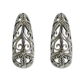 Handmade Sterling Silver 'Floral Fantasy' Earrings (Thailand)