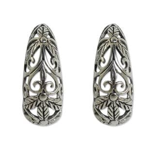 Handcrafted Sterling Silver 'Floral Fantasy' Earrings (Thailand)
