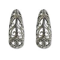Handmade Sterling Silver 'Floral Fantasy' Earrings (Thailand)