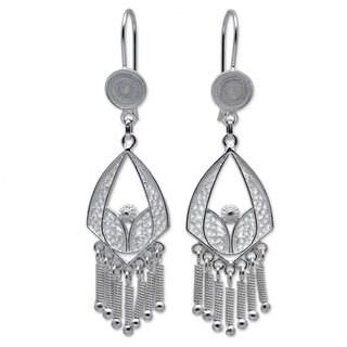 Handcrafted Sterling Silver 'Inca Royal' Earrings (Peru)