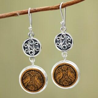 Handmade Sterling Silver 'Love and Peace' Mate Gourd Earrings (Peru)