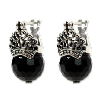 Handcrafted Sterling Silver 'Bali Majesty' Onyx Earrings (Indonesia)