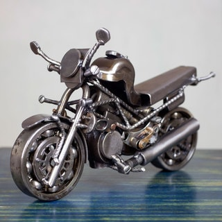 Handcrafted Auto Part 'Rustic Monster Motorbike' Statuette (Mexico)