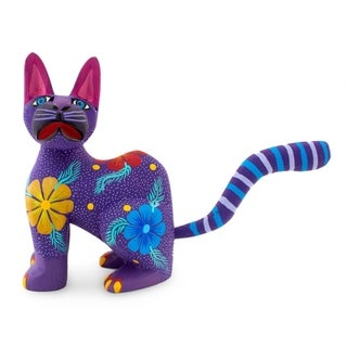 Handmade Copal Wood 'Springtime Cat' Sculpture (Mexico)