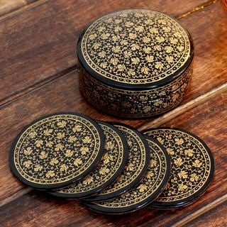 Set of 6 Handcrafted Papier Mache 'Golden Maple' Coasters (India)