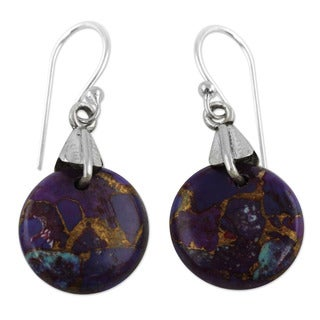 Moon Enigma Floating Discs of Golden Veined Purple Composite Turquoise set in 925 Sterling Silver Womens Dangle Earrings (India)