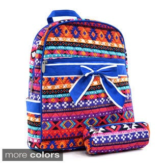 Dasein Quilted Aztec Print Mini Backpack with Convertible Shoulder Straps