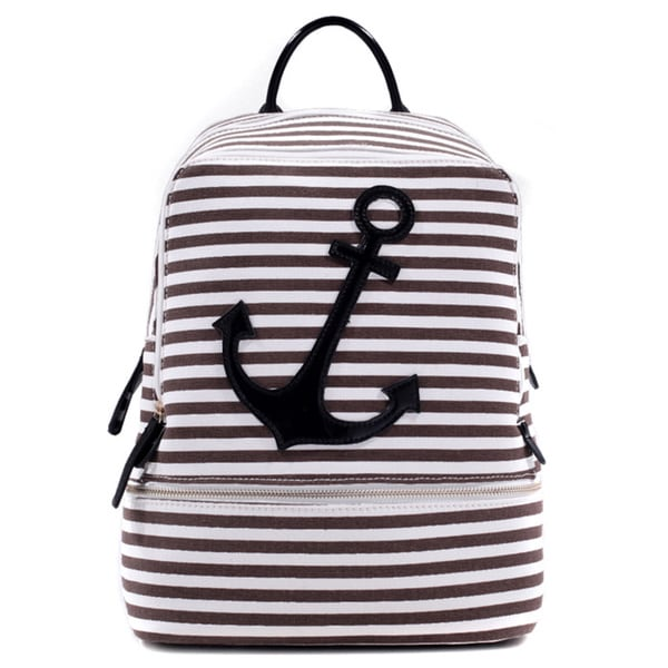 Dasein Anchor Canvas Striped Backpack with Adjustable Shoulder Straps