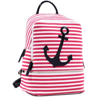Dasein Anchor Canvas Striped Backpack with Adjustable Shoulder Straps (4 options available)
