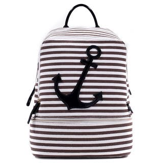 Dasein Anchor Canvas Striped Backpack with Adjustable Shoulder Straps|https://ak1.ostkcdn.com/images/products/9922346/P17079617.jpg?impolicy=medium