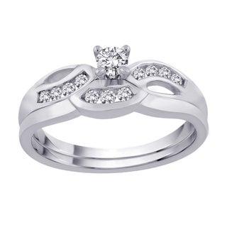 14K White Gold 1/3ct TDW Diamond Bridal Ring Set