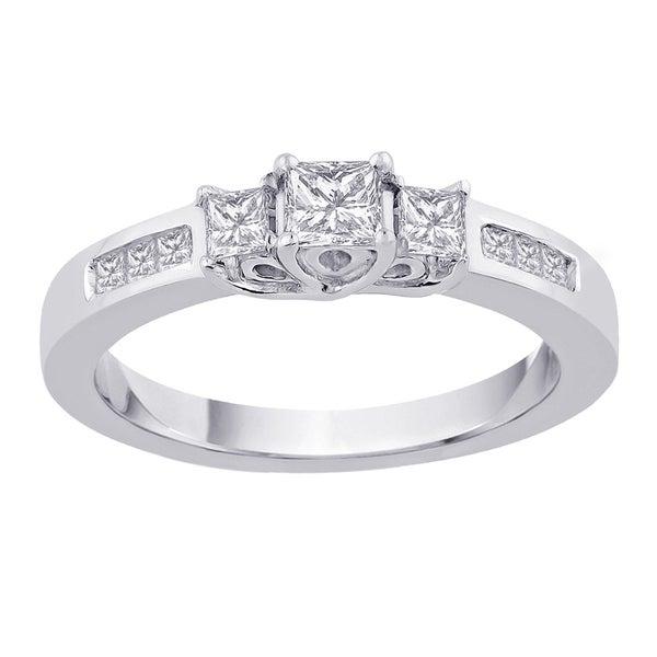14k White Gold 1ct TDW Princess-cut 3-stone Diamond Ring