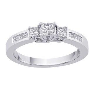 14k White Gold 1ct TDW Princess-cut 3-stone Diamond Ring