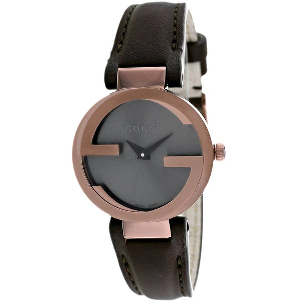 47bde2a4712 Shop Gucci Women s Interlocking Round Brown Leather Strap Watch - Free  Shipping Today - Overstock - 9922374