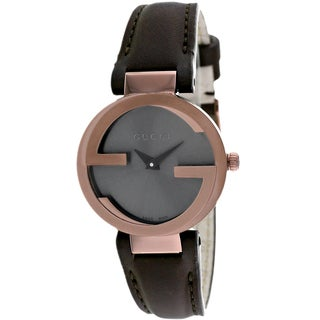 Gucci Women's YA133504 Interlocking Round Brown Leather Strap Watch