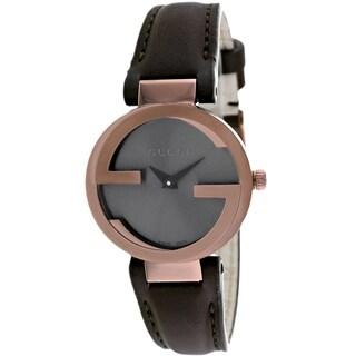 Gucci Women's YA133504 Interlocking Round Brown Leather Strap Watch