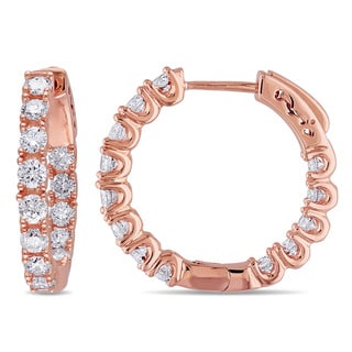 Miadora Signature Collection 14k Rose Gold 1 1/3ct TDW Diamond Hoop Earrings