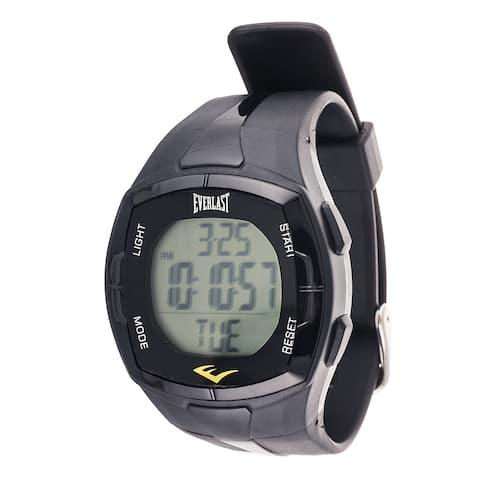 Everlast Men's HR2 Black Heart Rate Monitor Digital Sport Watch with Chest Strap