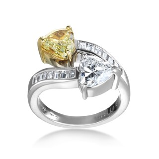 SummerRose Platinum 3 1/5 TDW White and Yellow Diamond Double Heart Ring