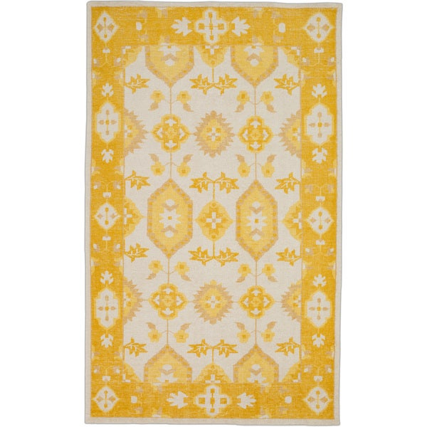 Hand-Knotted Leanna Border Wool Rug (5'6 x 8'6)