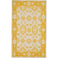 Hand-Knotted Leanna Border Wool Area Rug - 5'6 x 8'6