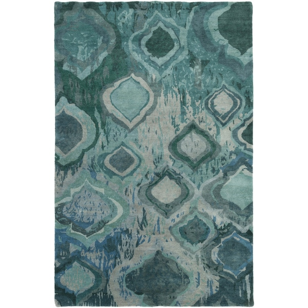 Hand-Knotted Glenn Abstract Wool Area Rug - 5' x 8'