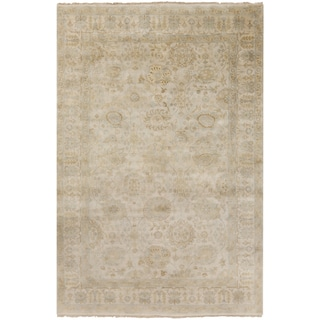 Hand-Knotted Dane Border New Zealand Wool Rug (3'9 x 5'9)