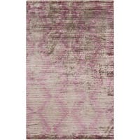 Hand-Knotted Brian Stripe Viscose Area Rug - 5' x 8'