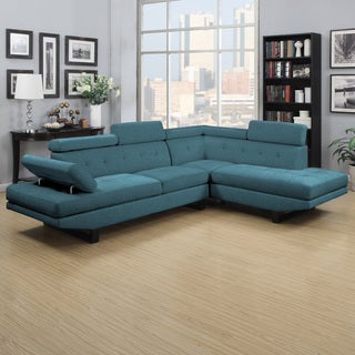 Handy Living Fontaine Caribbean Blue Linen 2-piece Sectional